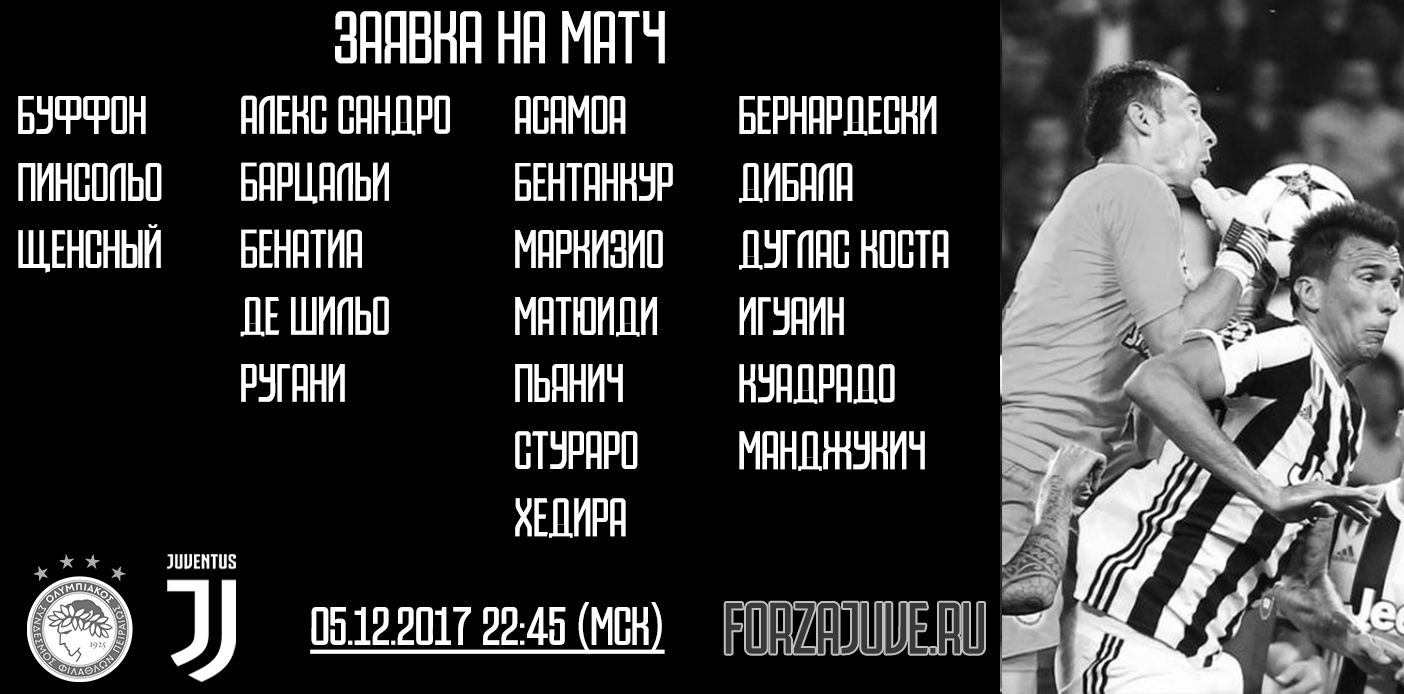 «Олимпиакос» - «Ювентус». Заявка на матч